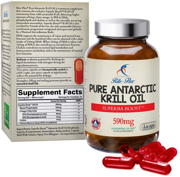 Rite-Flex Pure Sustainable Antarctic Krill Oil – Superba Boost™ 590mg 30 Marine Licaps® Supports Normal Heart Vision Brain & Liver Function - with Phospholipids Choline Asthaxantin - Made in France
