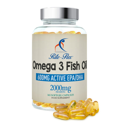 Omega 3 Fish Oil 1000mg, 365 Soft Gel Capsules