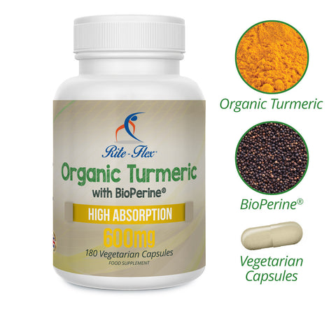 Organic Turmeric 600mg with BioPerine (Black Pepper Extract) 180 Vegetarian Vegan Capsules