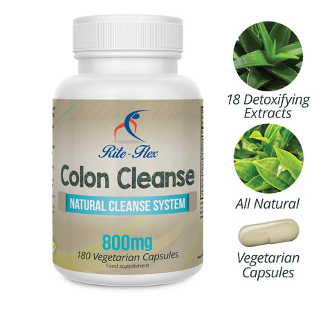 Colon Cleanse 800mg with 18 Natural Detoxifying Botanical Extracts 180 Vegetarian Capsules by Rite Flex