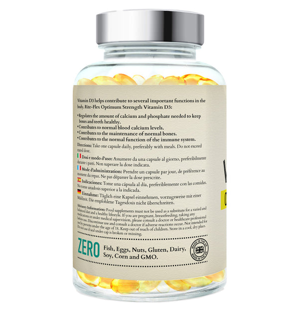 Vitamin D3 1000 IU, 365 Softgels Supplement