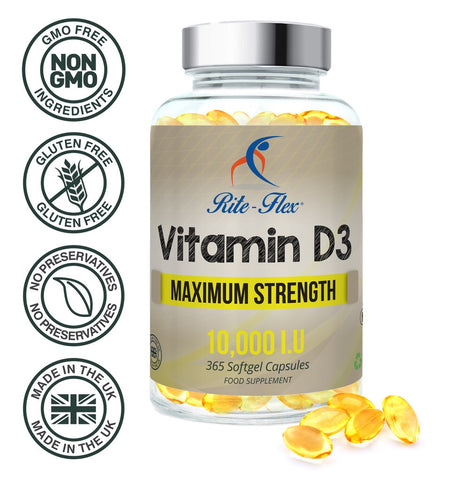 Vitamin D3, 10,000 IU 365 Softgels