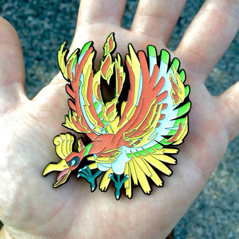 5366ac092f4 V3 Full Glow! Lo-Oh Bassnectar Pokemon Ho-Oh Hat Pin – Baine Visuals