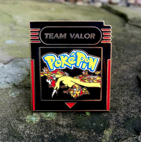 Pokemon Go Team Valor Cartridge Hat Pin Limited Edition Black on Gold