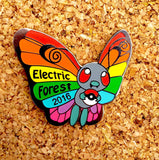 Butterfree Electric Forest 2016 Glow Hat Pin
