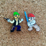 Mario Skywalker and Luigi Solo Hat Pins Misprints