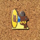 Griz Bear Surfer Hat Pin