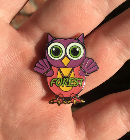 Mini Owl Electric Forest Glow Hat Pin