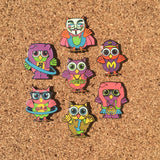 String Cheese Mini Owl Electric Forest Glow Hat Pin