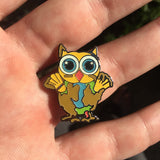 Muddy Mini Owl Electric Forest Glow Hat Pin