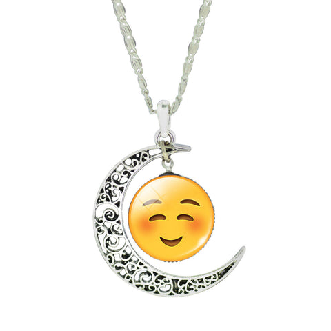 Emoji Necklace - Moon Happy Smile