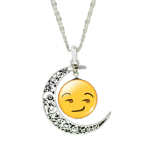 Emoji Necklace - Moon Smirk Face