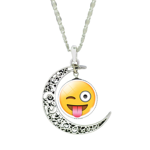 Emoji Necklace - Moon Crazy Face