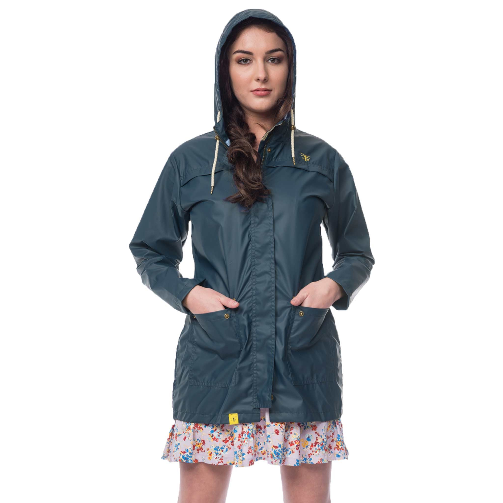 Lighthouse Bowline Womens Rubber Raincoat in Navy