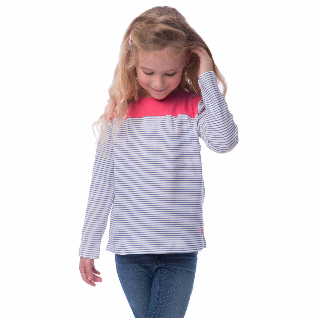 Lighthouse Daisy Girls Long Sleeve Top in Pink with Green Strip
