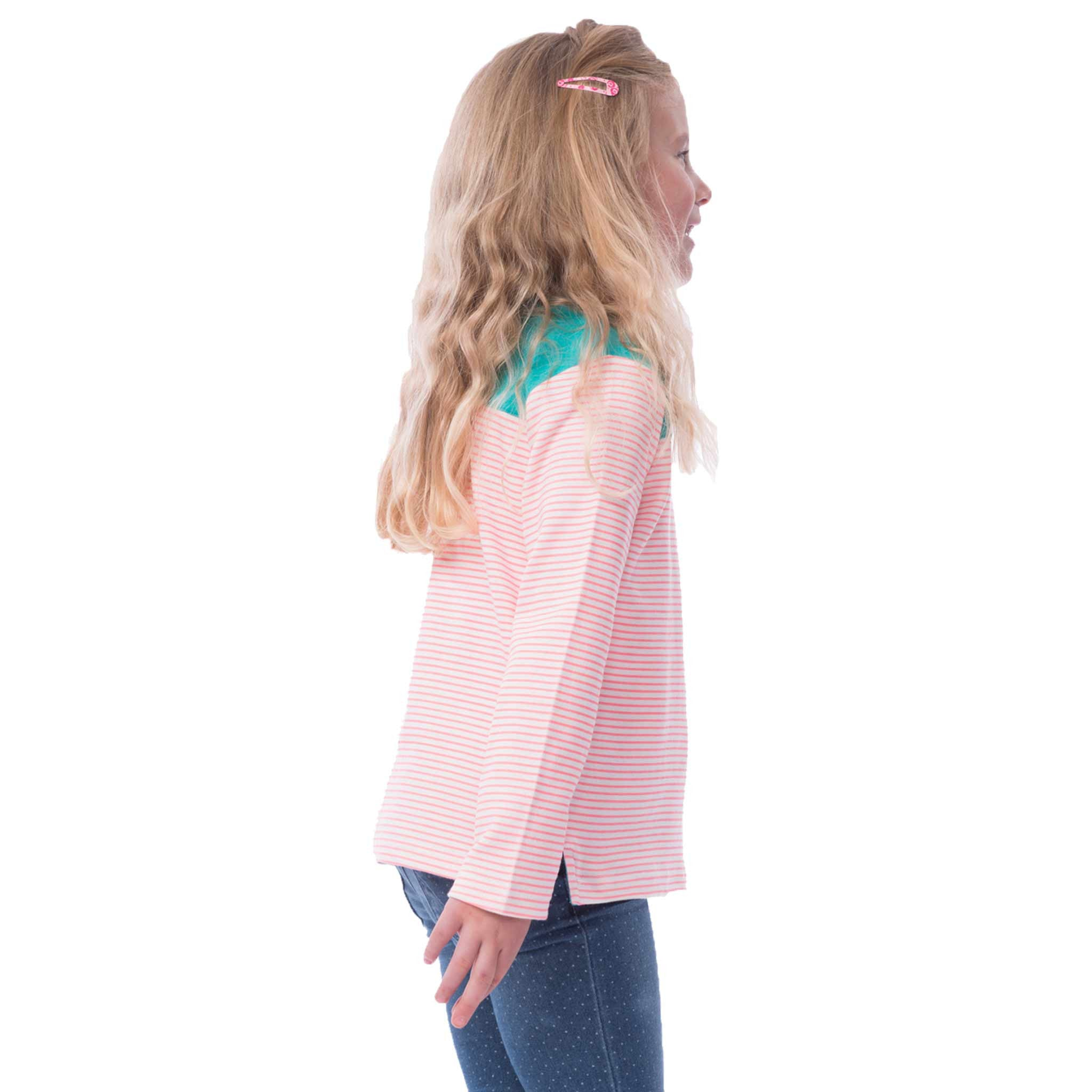 Lighthouse Daisy Girls Long Sleeve Top in Green with Pink Strip