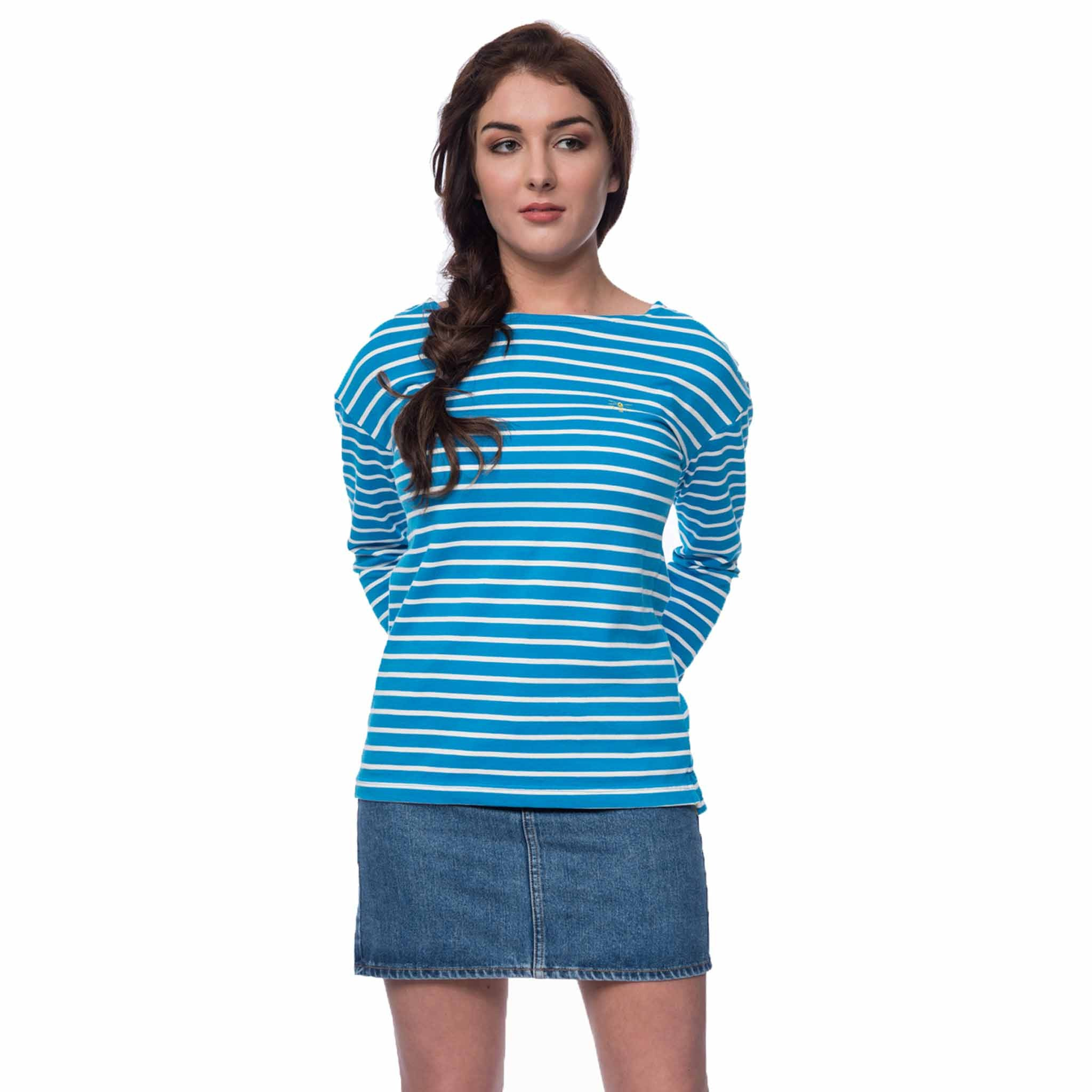 Lighthouse Dune Womens Long Sleeve Top in Blue Striped