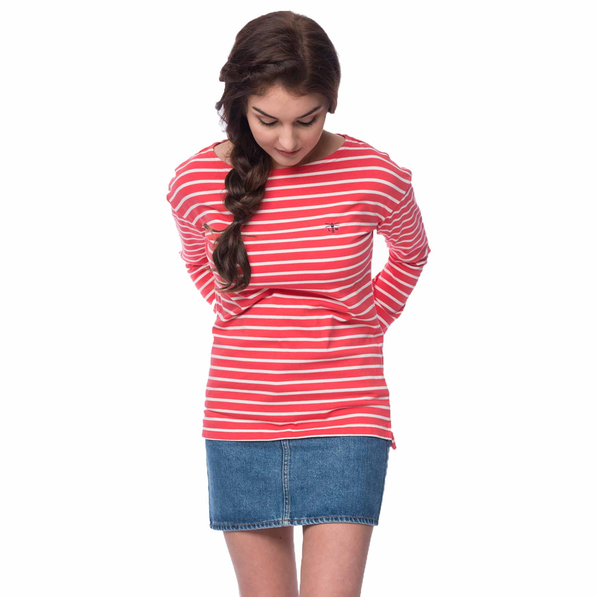 Lighthouse Dune Womens Long Sleeve Top in Red Striped
