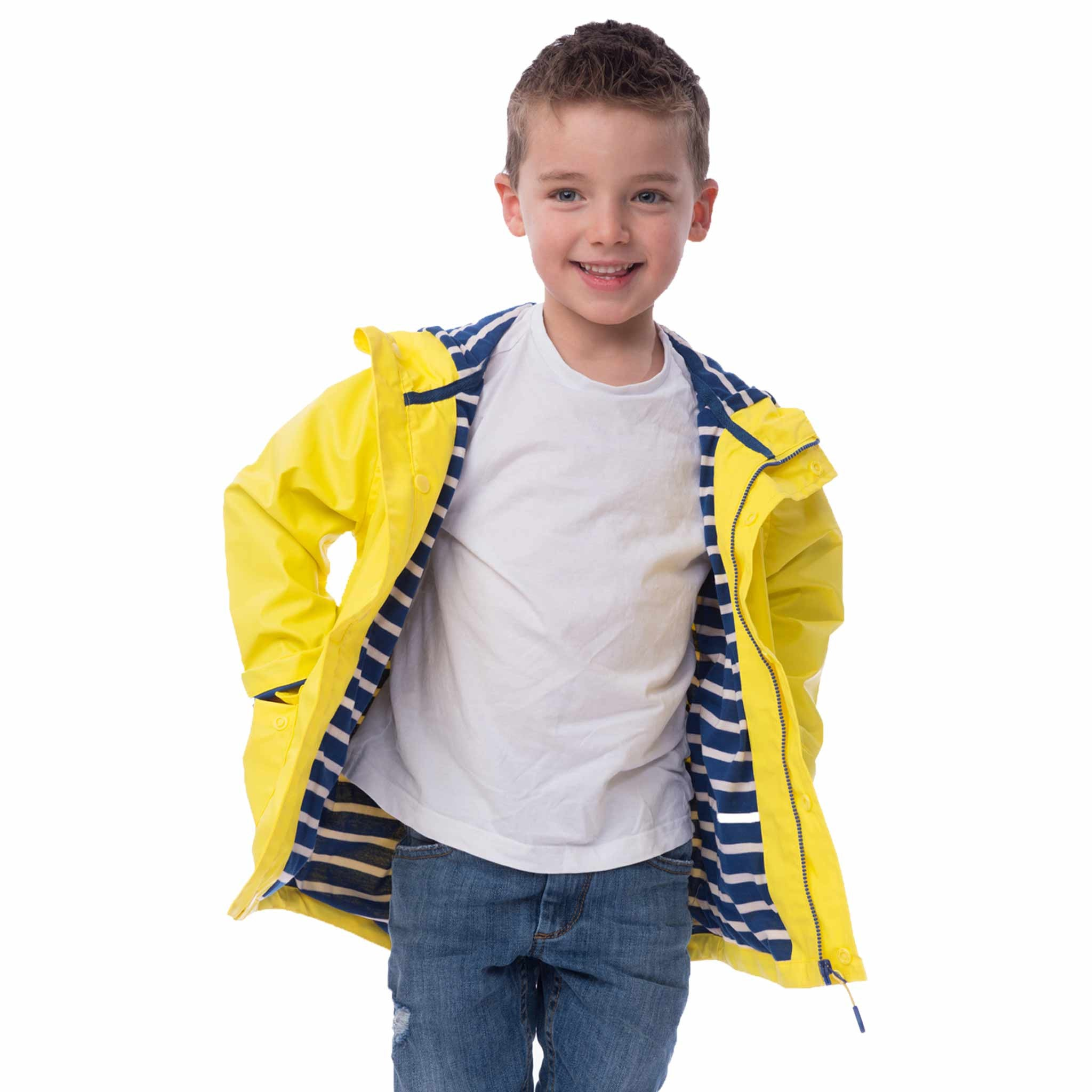 Lighthouse Sailor Boys Rubber Rain Coat in Yellow