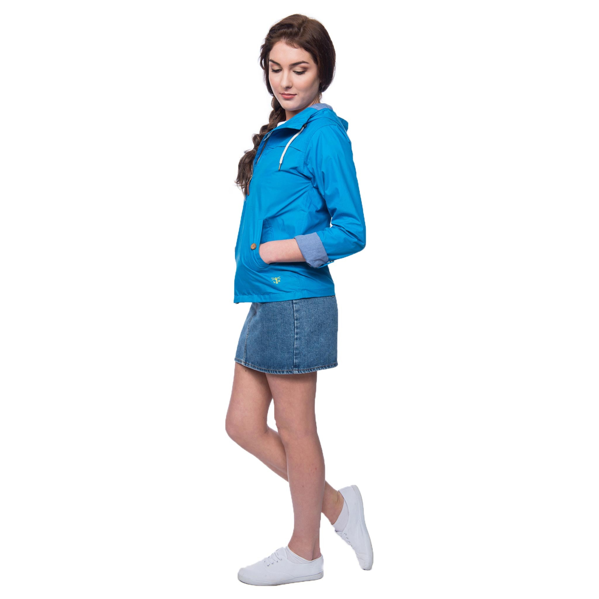 Lighthouse Wren Womens Rain Jacket in Blue