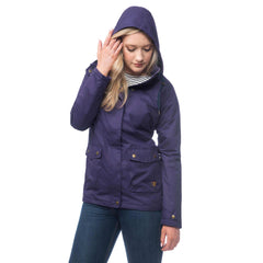 Lighthouse Alyssa Womens Waterproof Hooded Jacket in Purple. Zipped and Buttoned. Hood up.