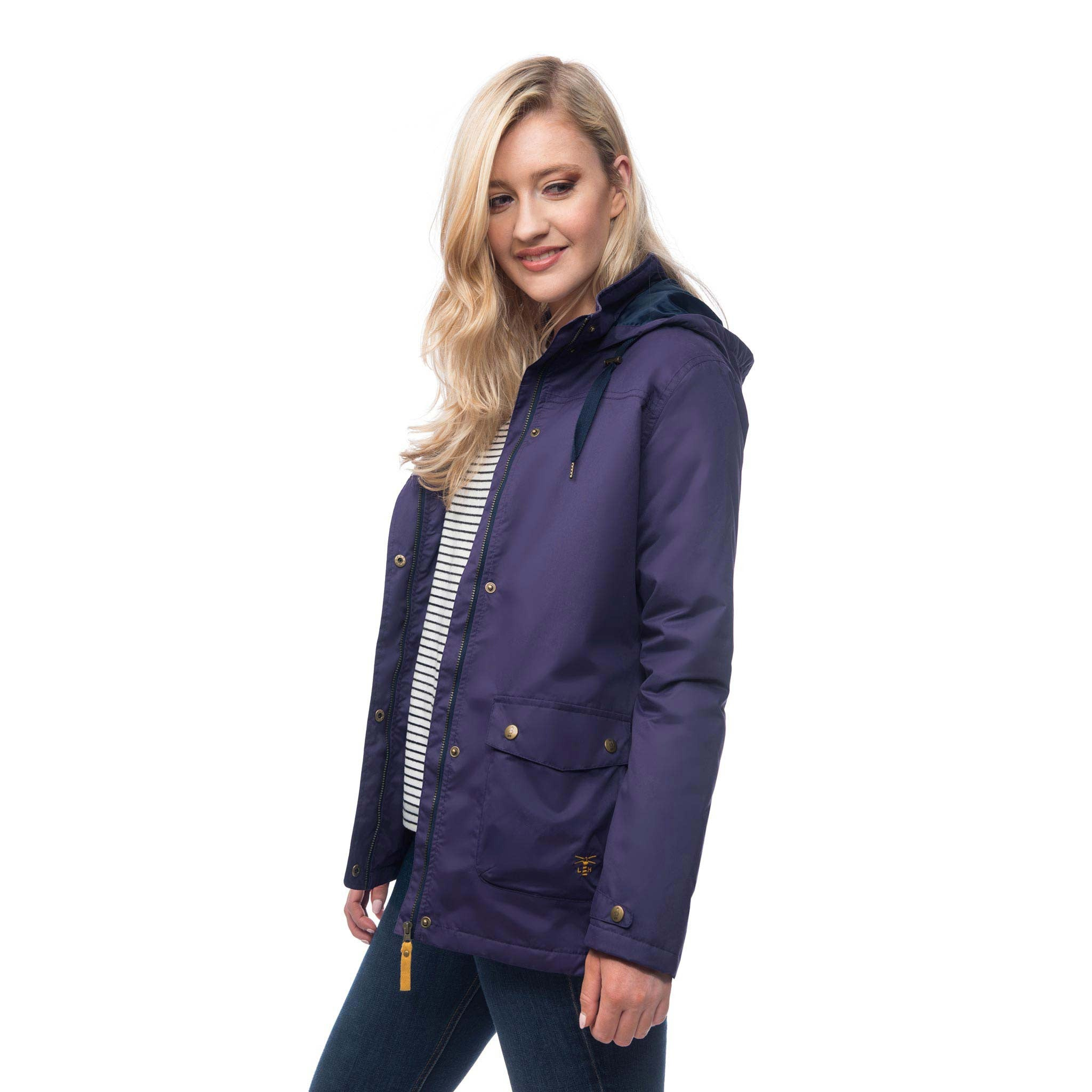 Lighthouse Alyssa Womens Waterproof Hooded Jacket in Purple. Unzipped and un-buttoned. Hood down.