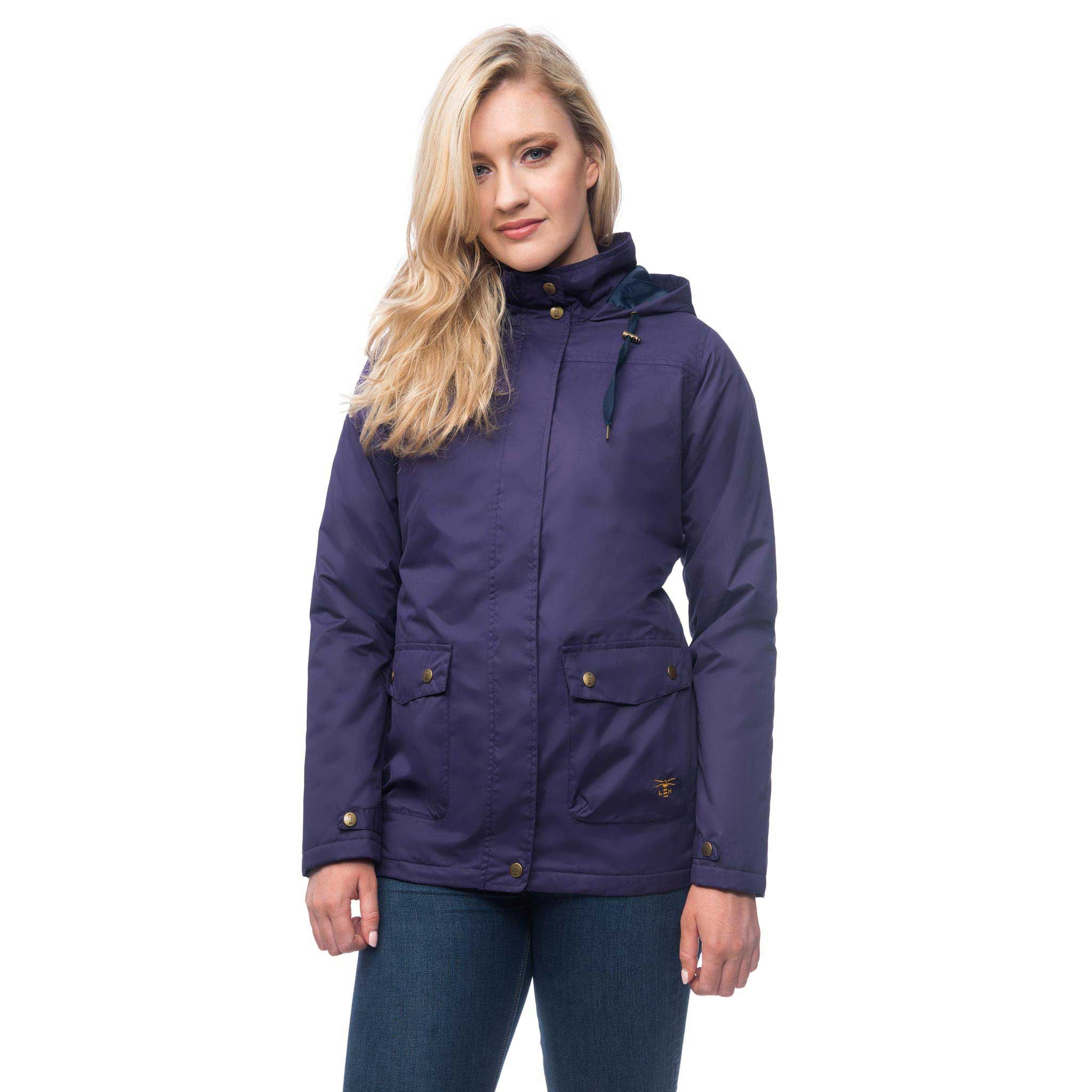 Lighthouse Alyssa Womens Waterproof Hooded Jacket in Purple. Zipped and Buttoned. Hood down.