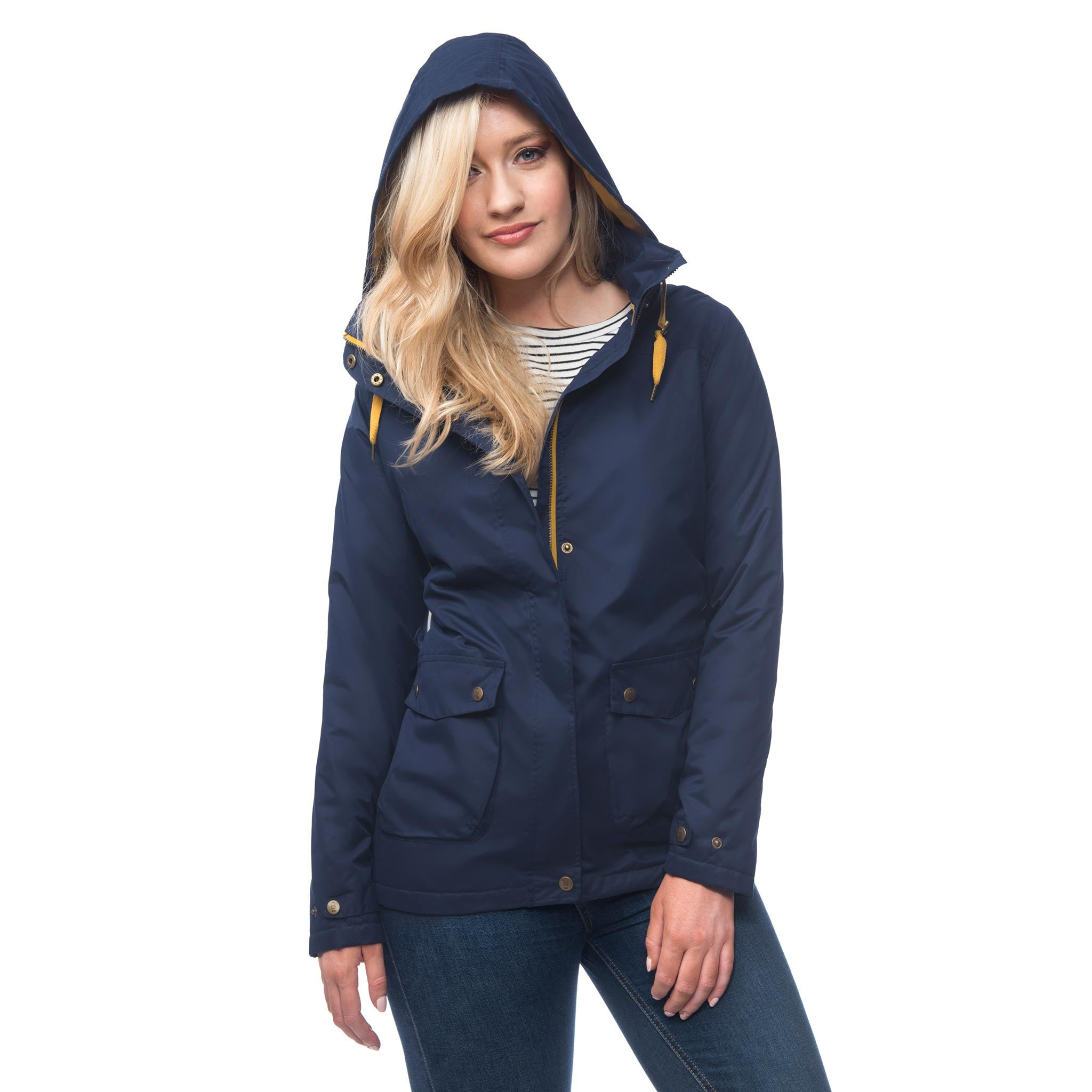Lighthouse Alyssa Womens Waterproof Hooded Jacket in Navy. Half Zipped and Buttoned. Hood up.