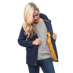 Lighthouse Alyssa Womens Waterproof Hooded Jacket in Navy. Open showing quilt lining. Hood down.