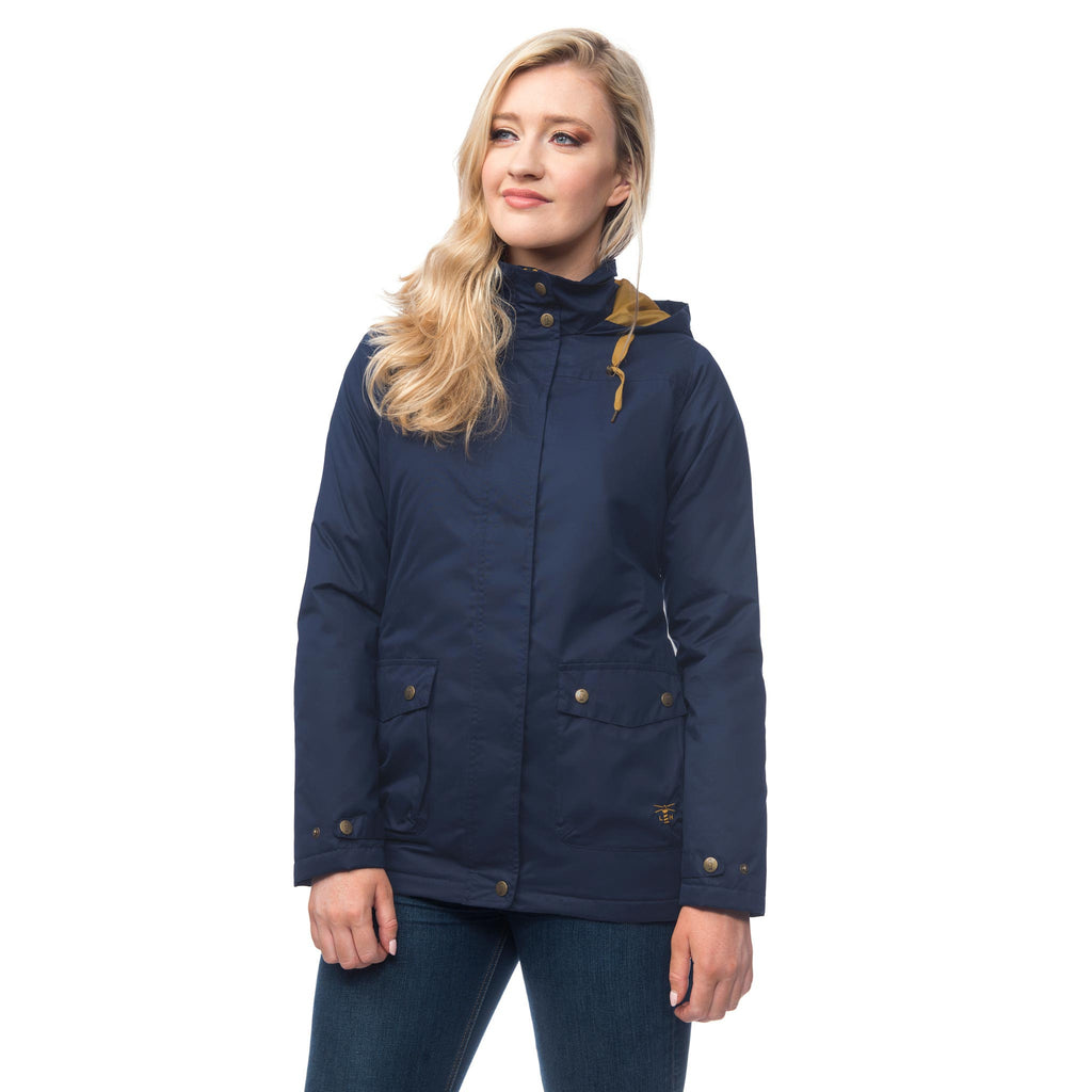 Lighthouse Alyssa Womens Waterproof Hooded Jacket in Navy. Zipped and Buttoned. Hood down.
