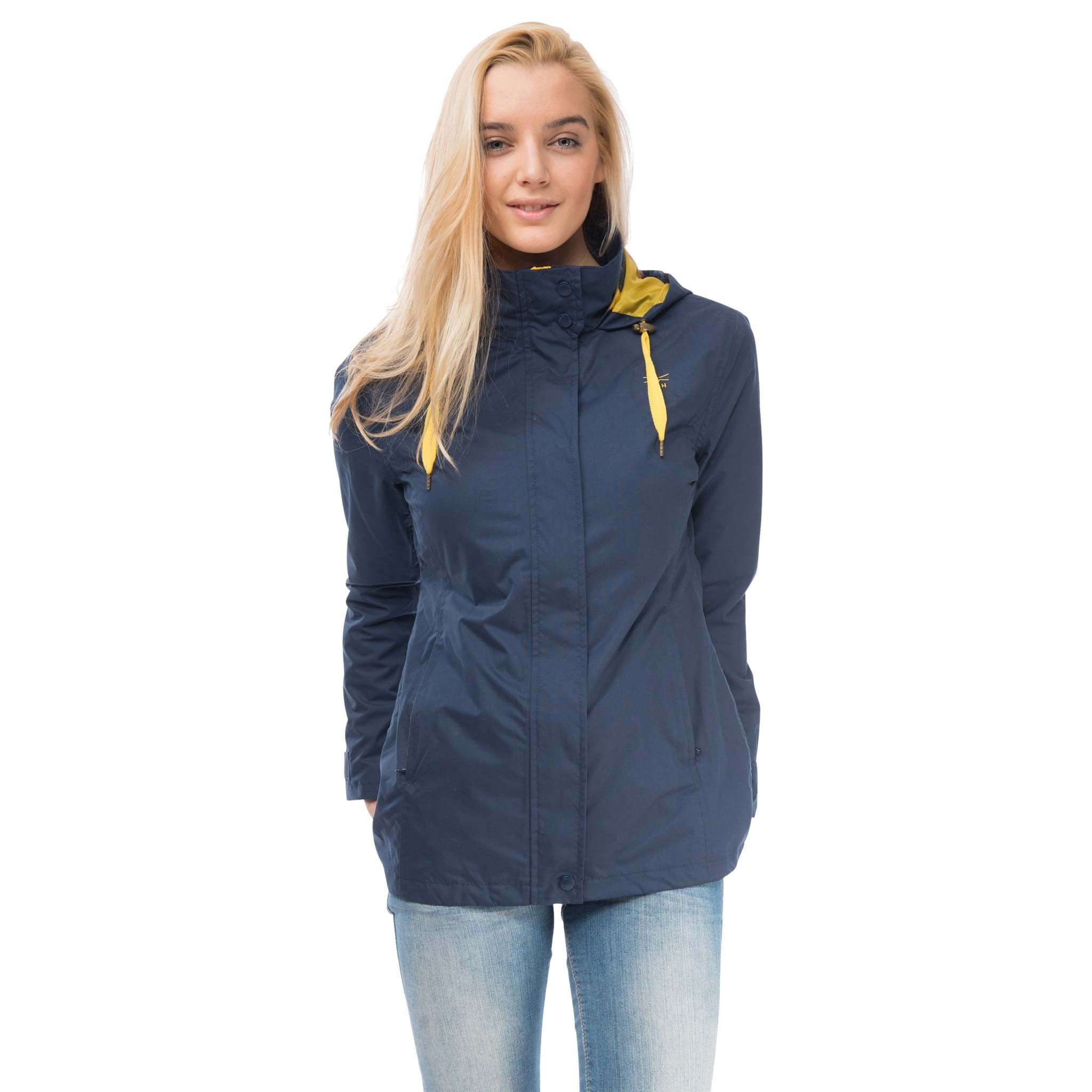 Beachcomber Waterproof Hooded Jacket in French Navy, Modelled Front View | Lighthouse
