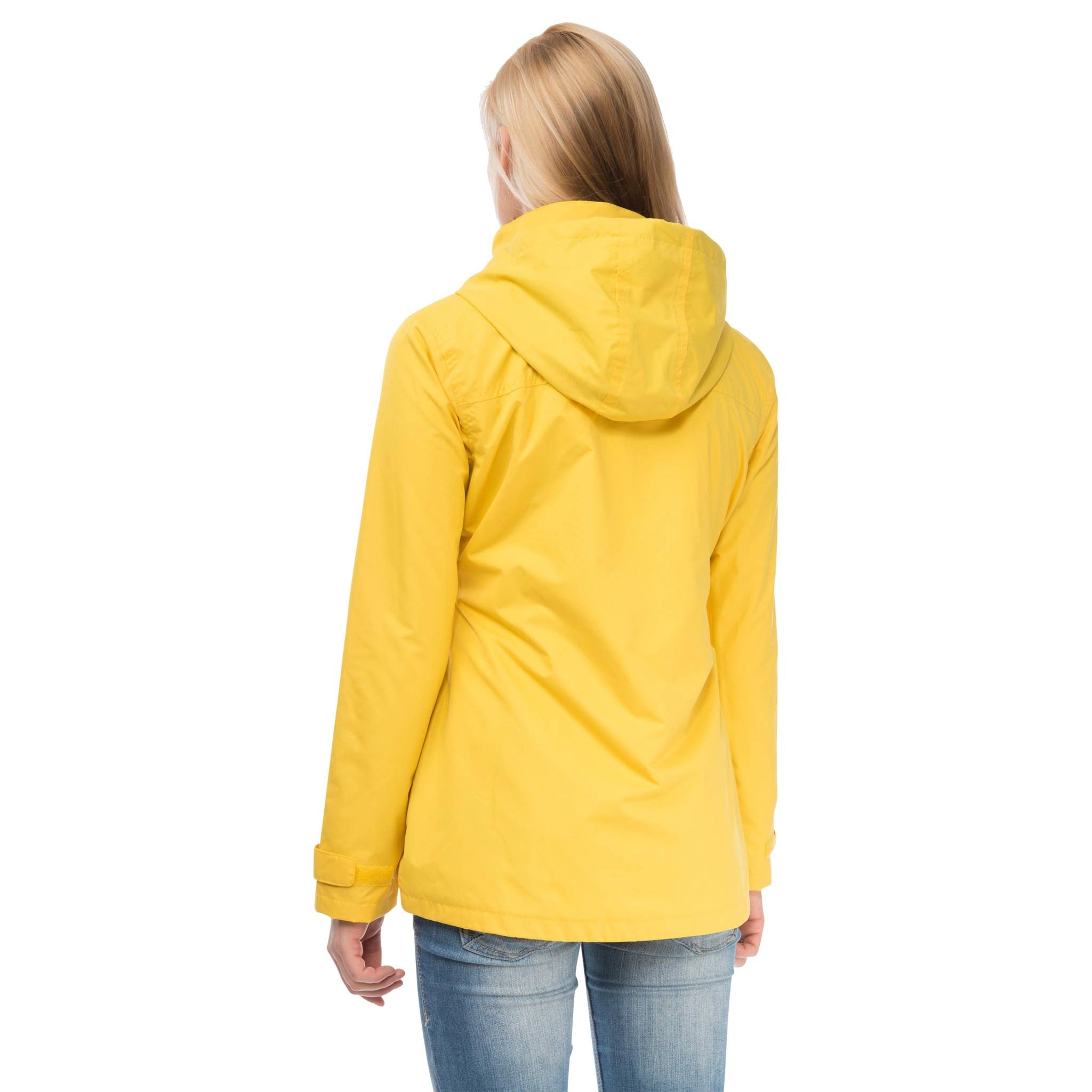 Beachcomber Waterproof Hooded Jacket in Sunbeam Yellow, Modelled Back View | Lighthouse