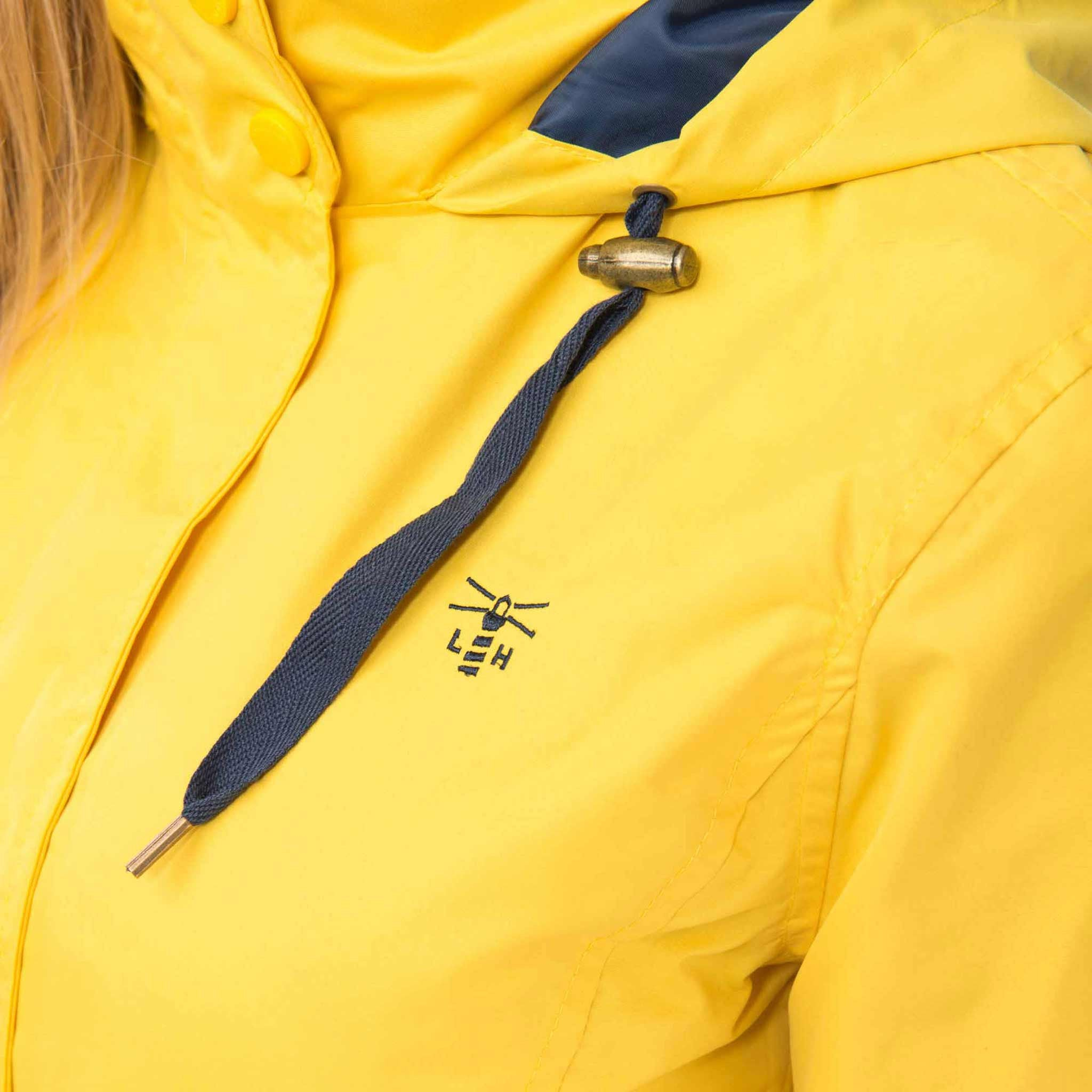 Beachcomber Waterproof Hooded Jacket in Sunbeam Yellow, Modelled Detail View | Lighthouse