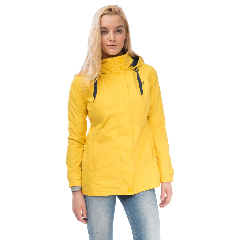 Beachcomber Waterproof Hooded Jacket in Sunbeam Yellow, Modelled Front View | Lighthouse