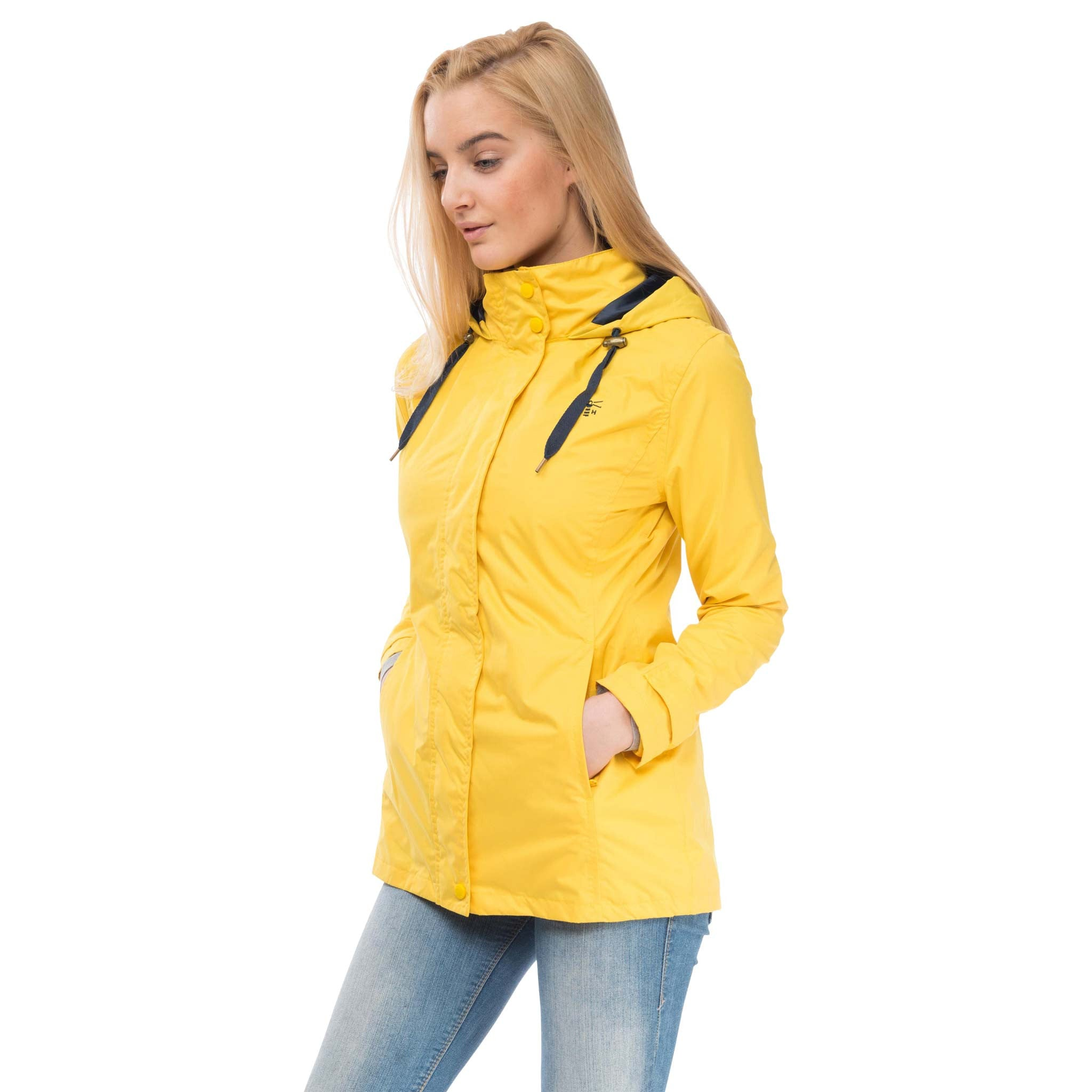 Beachcomber Waterproof Hooded Jacket in Sunbeam Yellow, Modelled Side View | Lighthouse