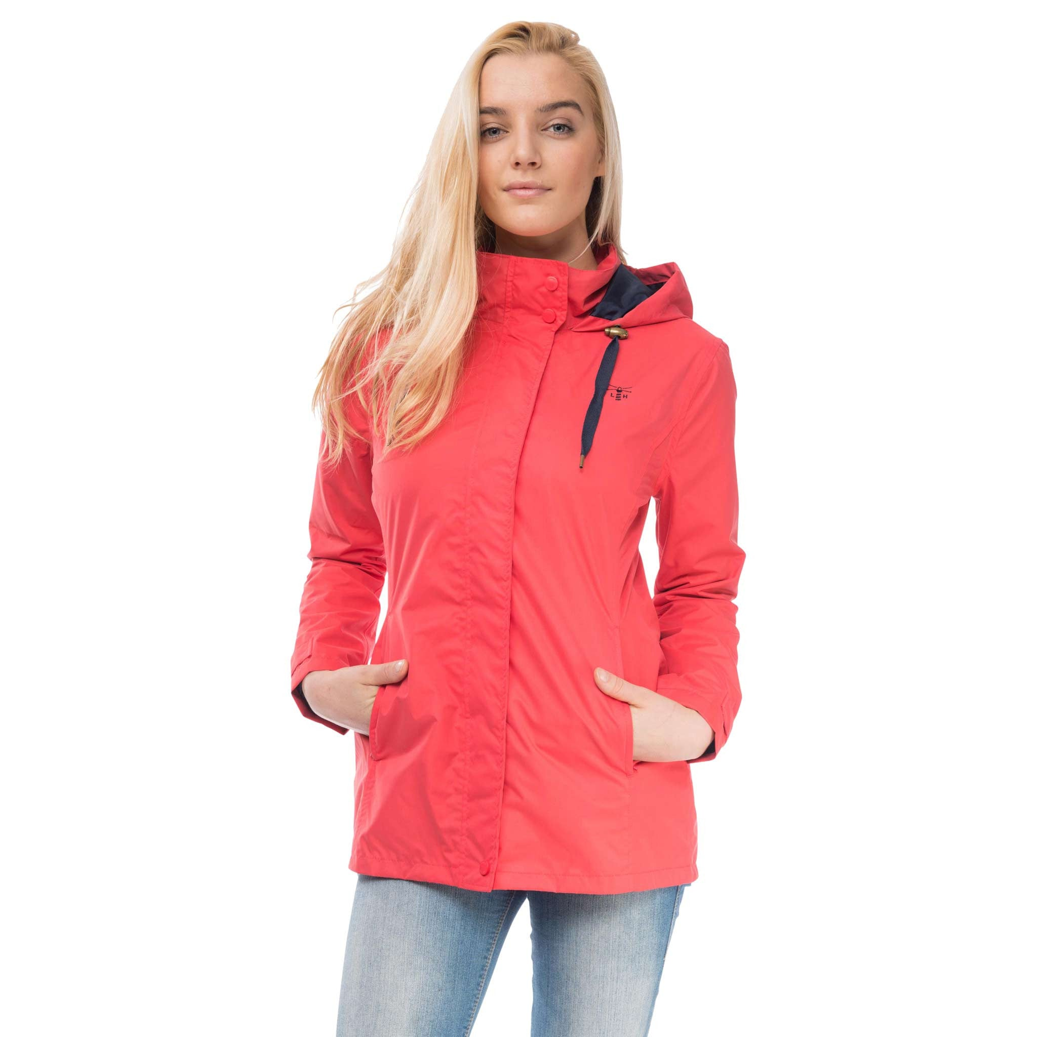 Beachcomber Waterproof Hooded Jacket in Watermelon Red, Modelled Front View | Lighthouse