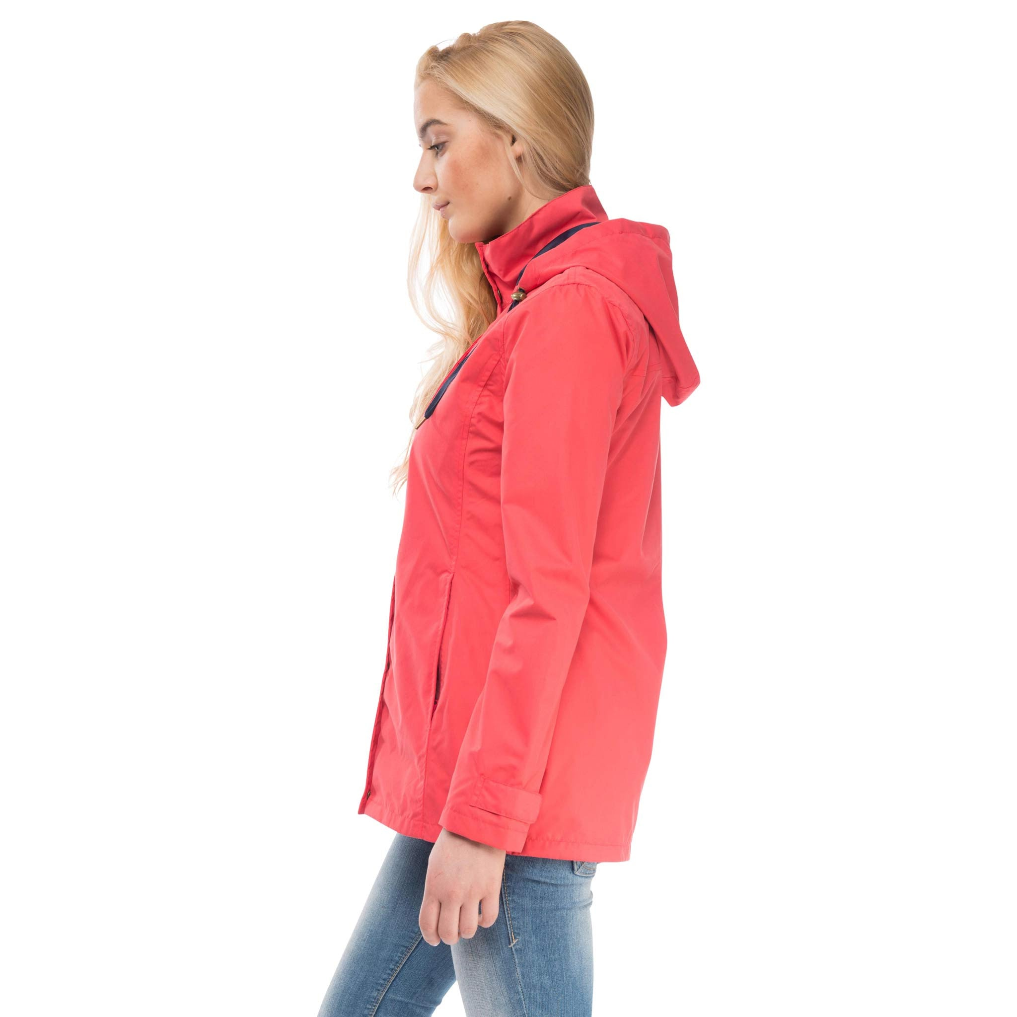 Beachcomber Waterproof Hooded Jacket in Watermelon Red, Modelled Side View | Lighthouse