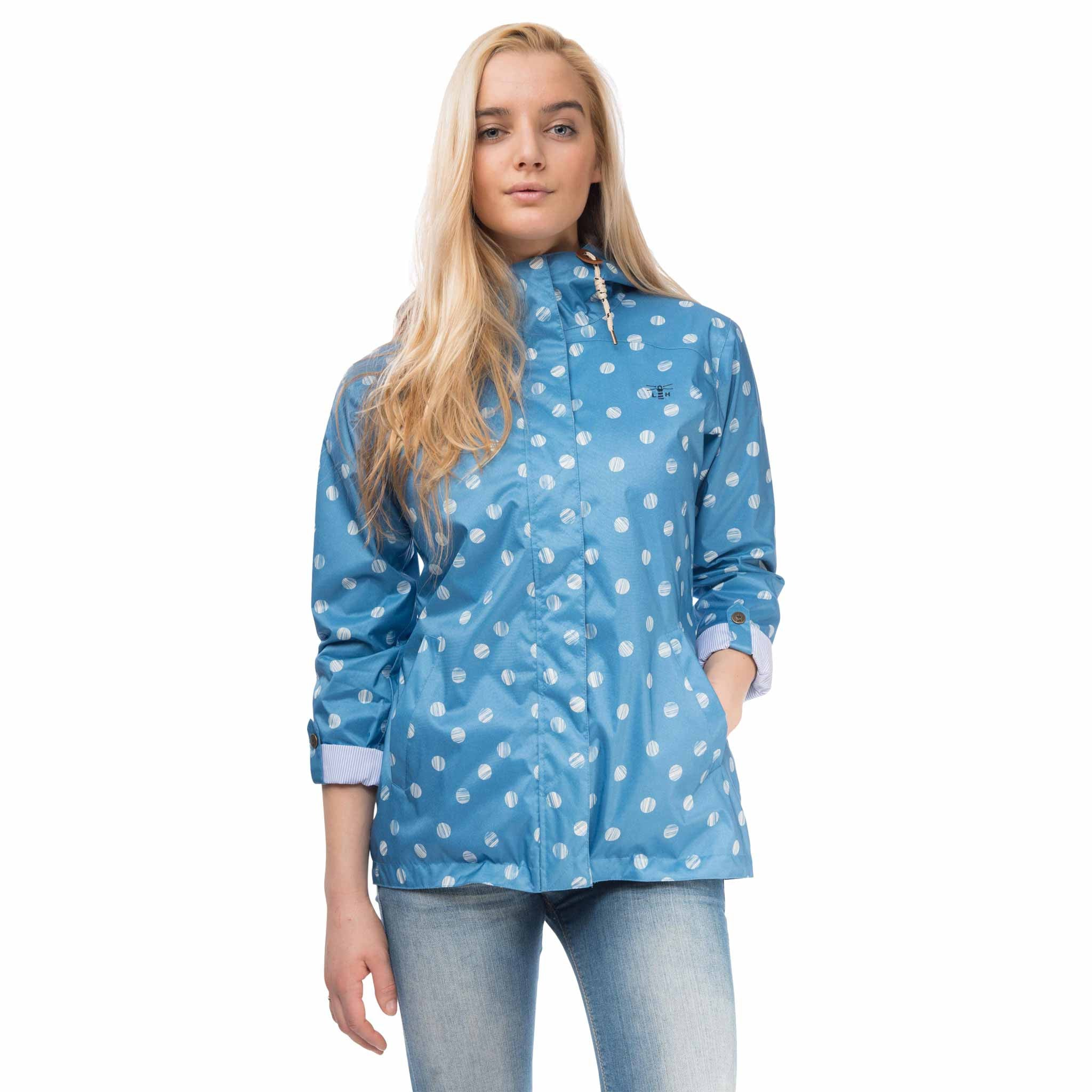 Bluejay Womens Waterproof Jacket in Marine Polka Dot Blue, Modelled Front View | Lighthouse