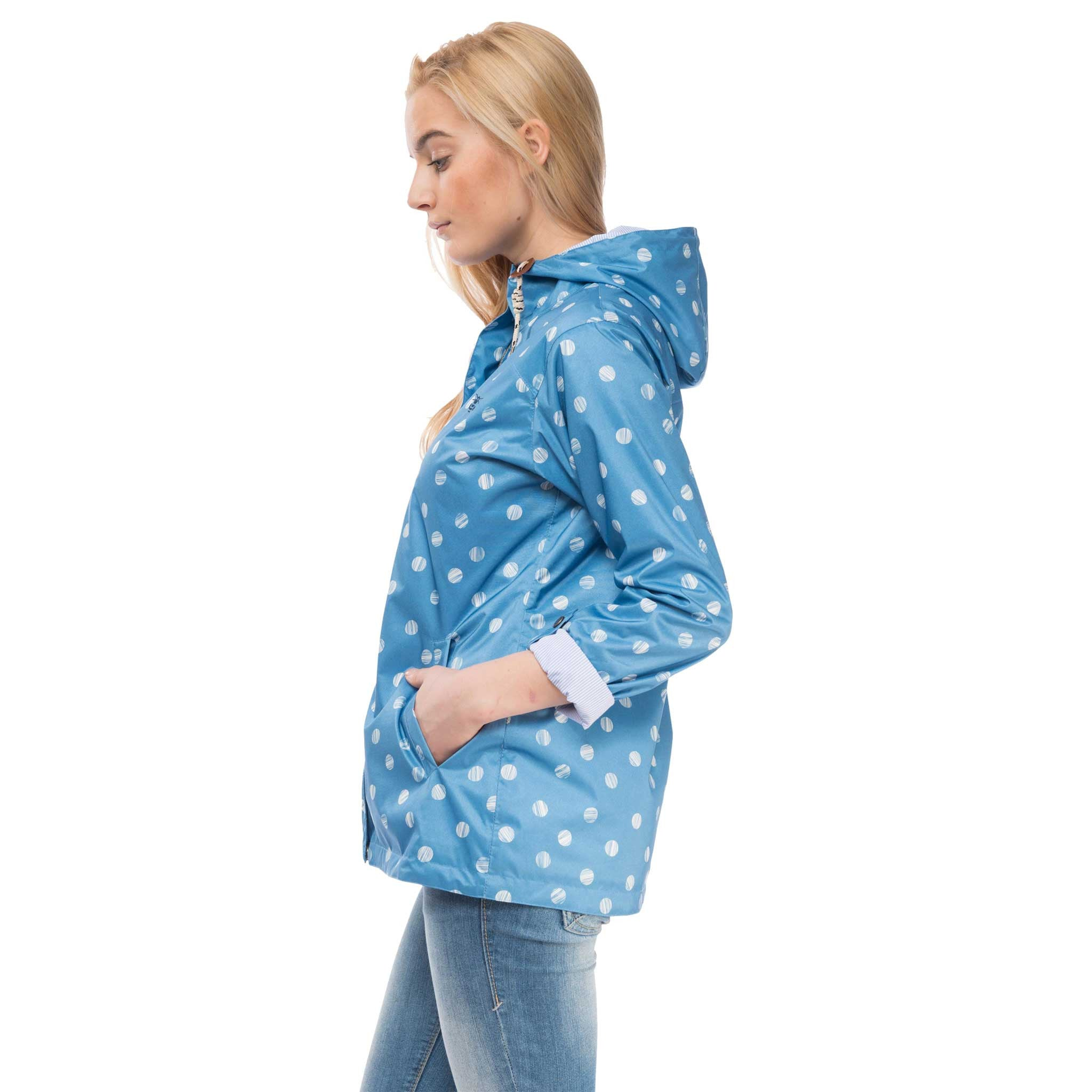 Bluejay Womens Waterproof Jacket in Marine Polka Dot Blue, Modelled Side View | Lighthouse