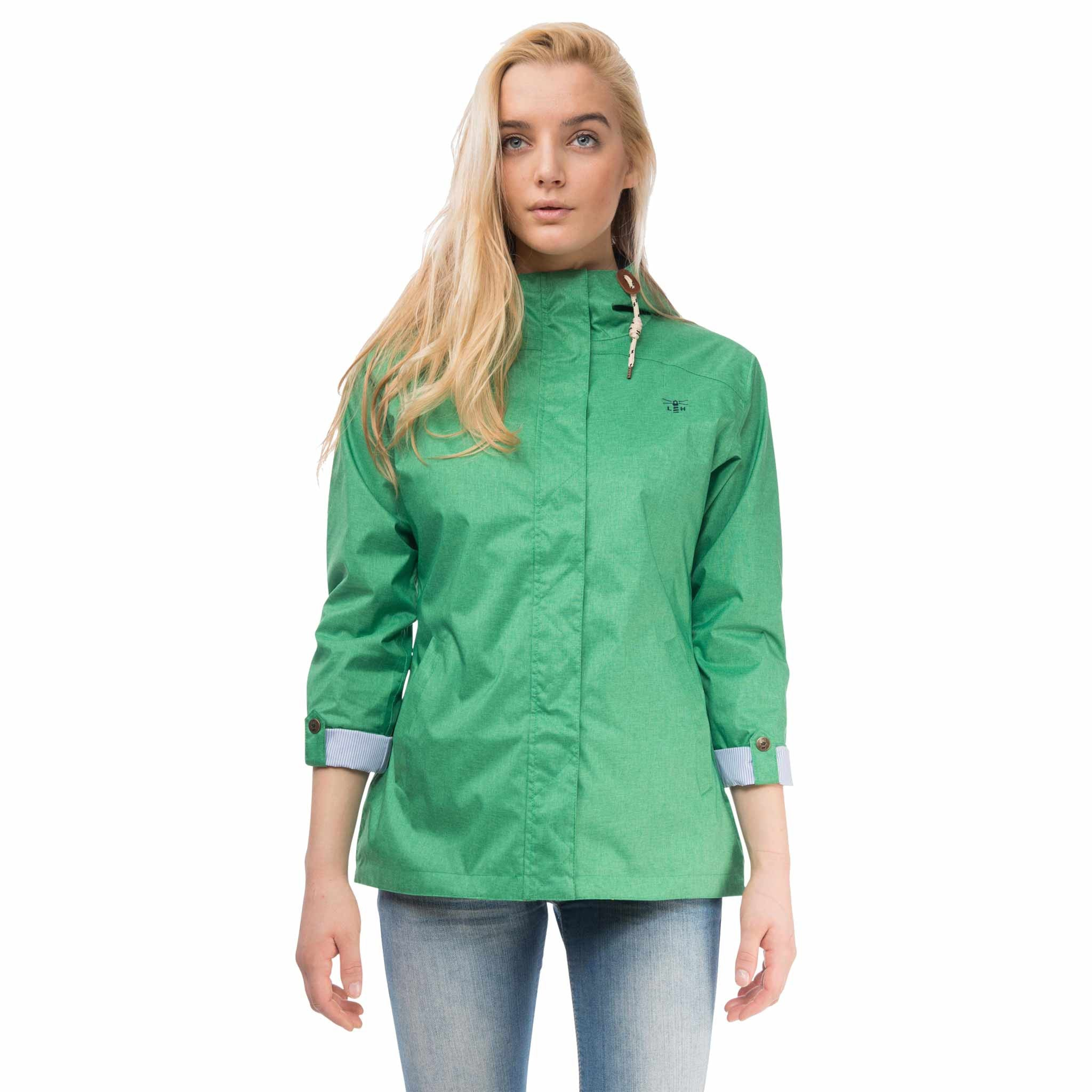 Bluejay Womens Waterproof Jacket in Seagrass Green, Modelled Front View | Lighthouse
