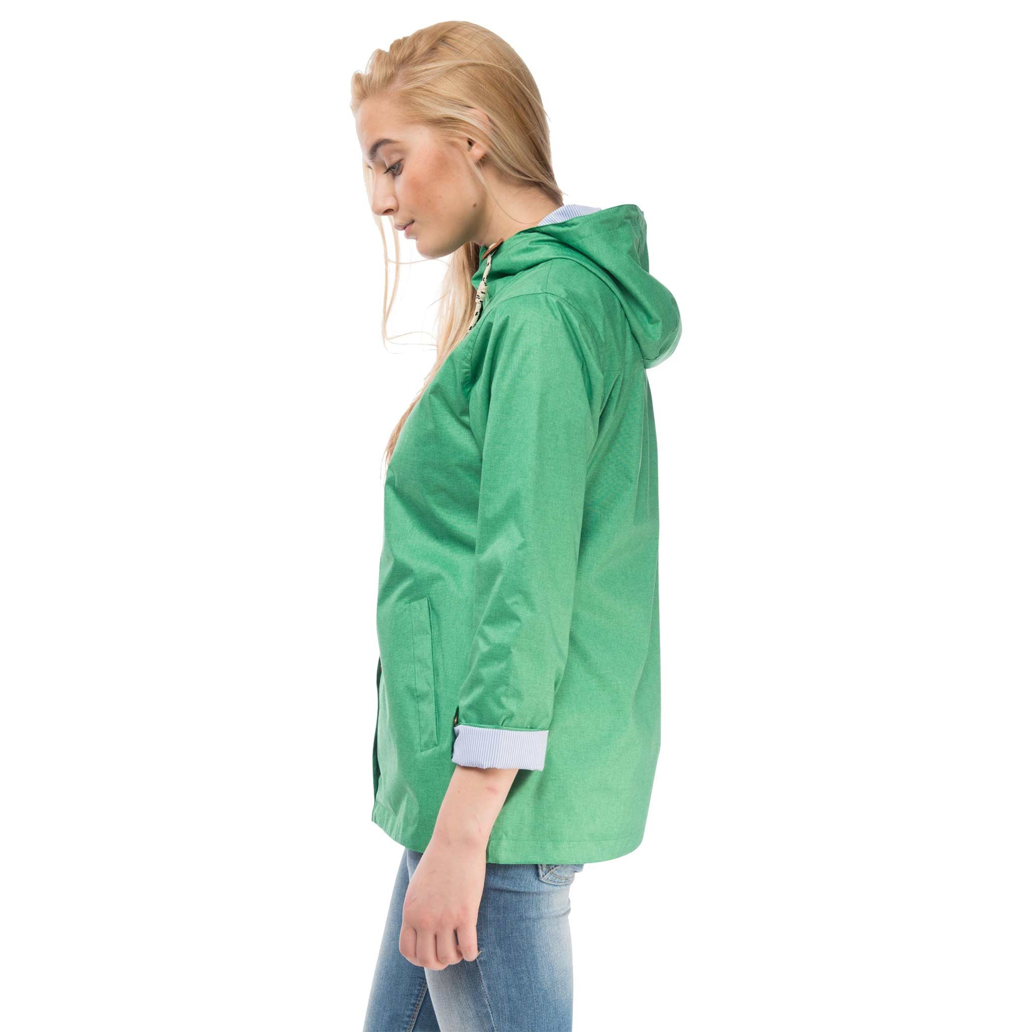 Bluejay Womens Waterproof Jacket in Seagrass Green, Modelled Side View | Lighthouse