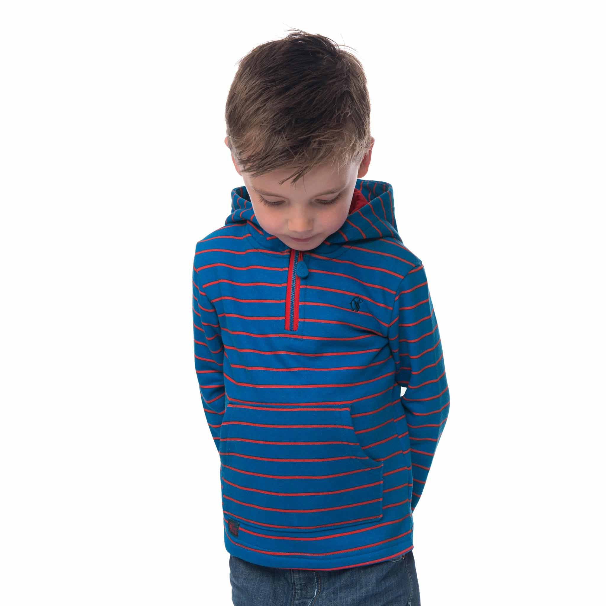 Lighthouse Boys' Bobby Half Zip Jersey Hoodie in Blue with Red Stripe. Half Zipped.
