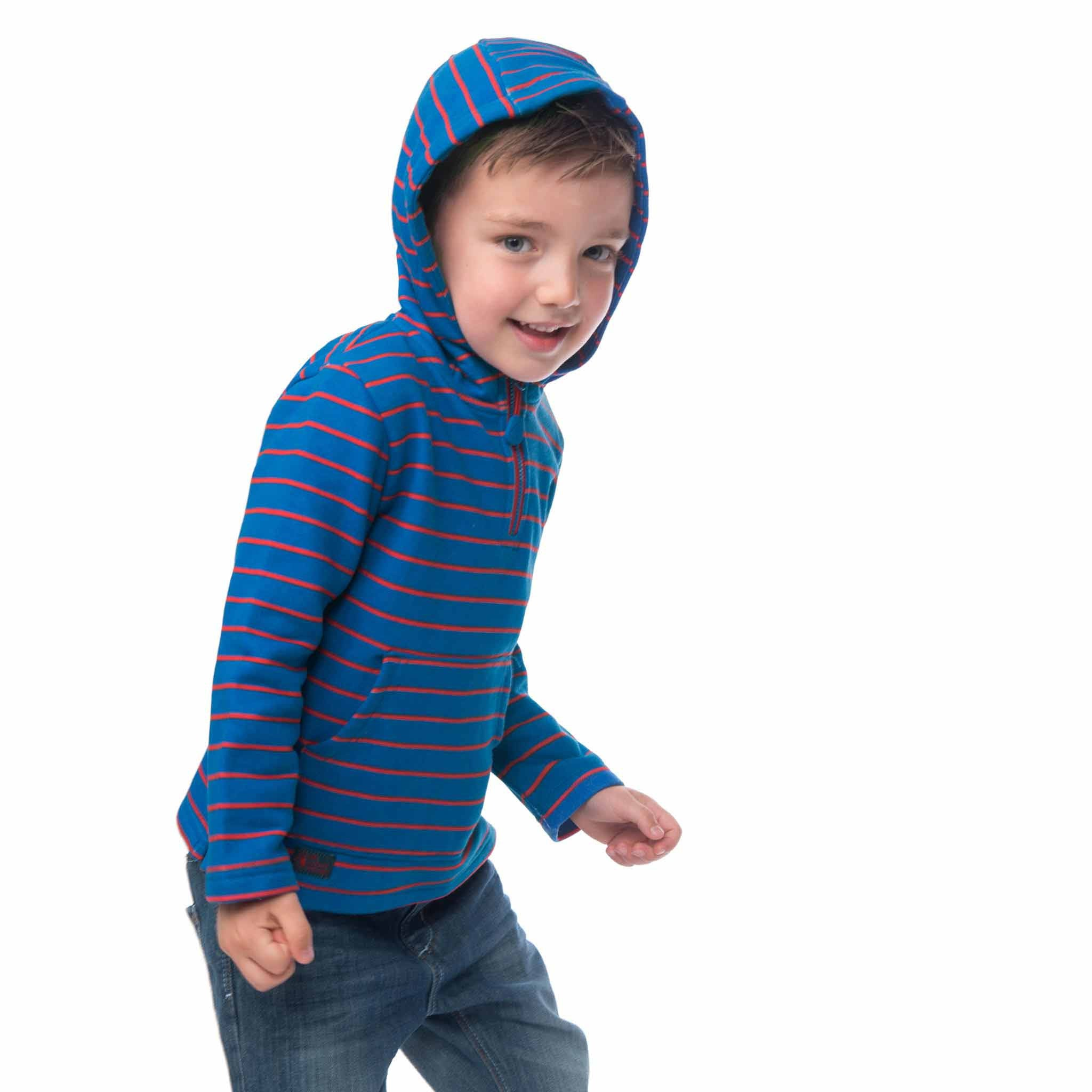 Lighthouse Boys' Bobby Half Zip Jersey Hoodie in Blue with Red Stripe. Half Zipped. Hood Up.