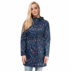 Cara Lightweight Rain Parka in Night Sky Floral Print, Modelled Front View | Lighthouse