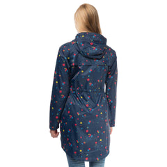 Cara Lightweight Rain Parka in Night Sky Floral Print, Modelled Back View | Lighthouse