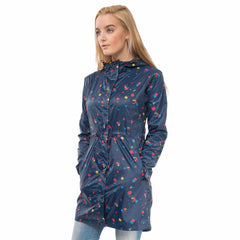 Cara Lightweight Rain Parka in Night Sky Floral Print, Modelled Side View | Lighthouse