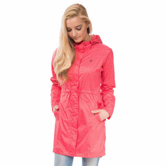 Cara Lightweight Rain Parka in Watermelon Polka Dot, Modelled Front View | Lighthouse