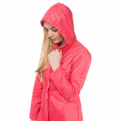Cara Lightweight Rain Parka in Watermelon Polka Dot, Modelled Side View | Lighthouse