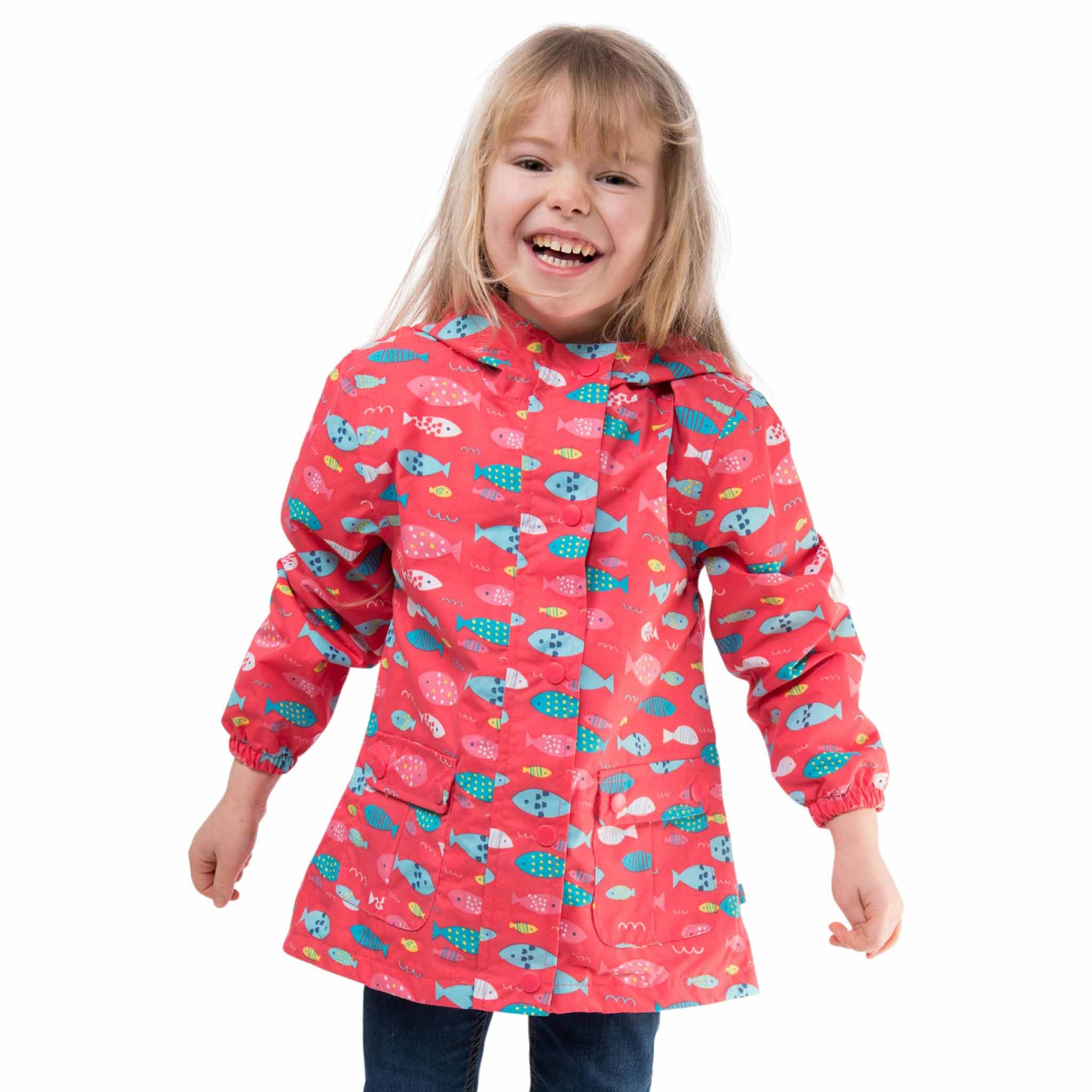 Carrie Girls Waterproof Hooded Jacket, in Rose Pink Fish Print, Modelled Front View | Lighthouse