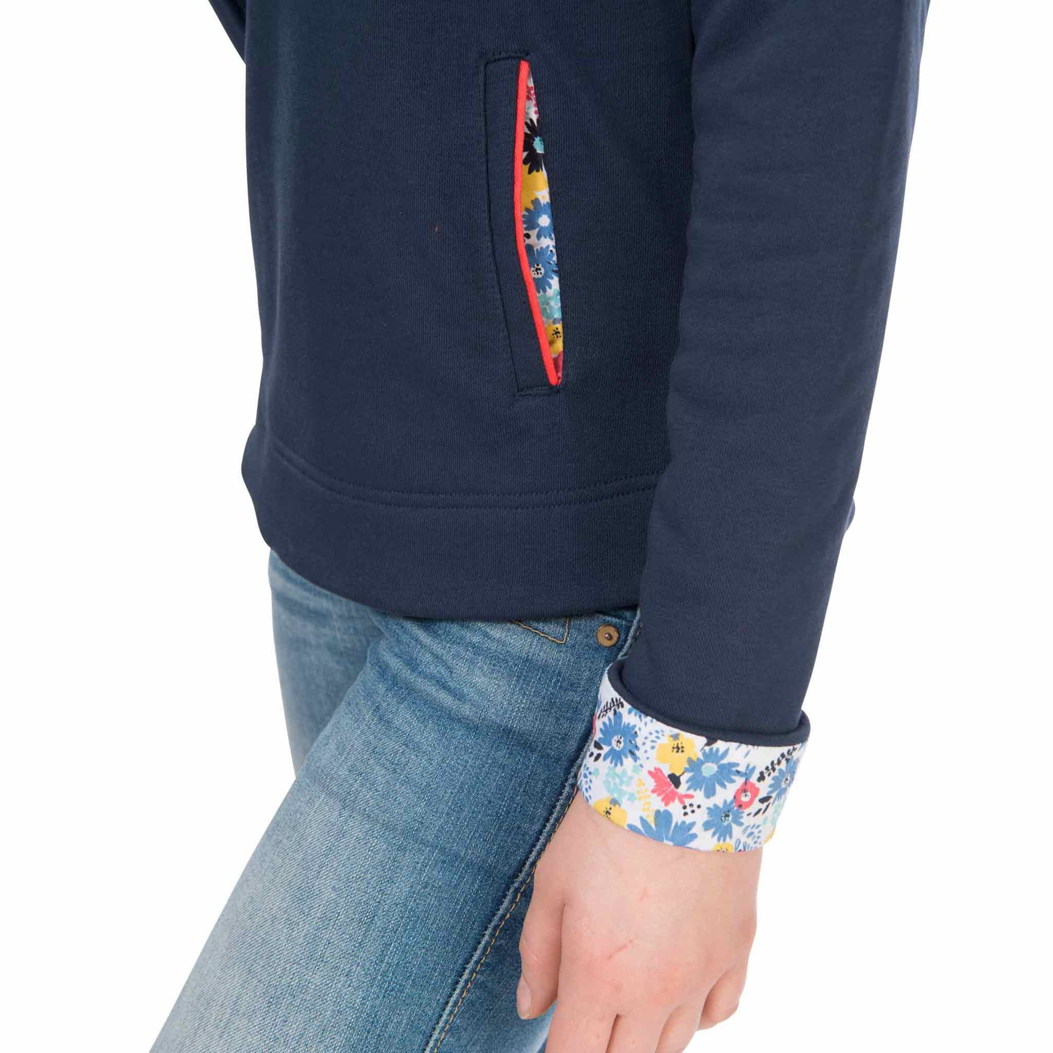 Coney Womens Half Button Sweatshirt in Night Sky, Modelled Cuff Detail View | Lighthouse